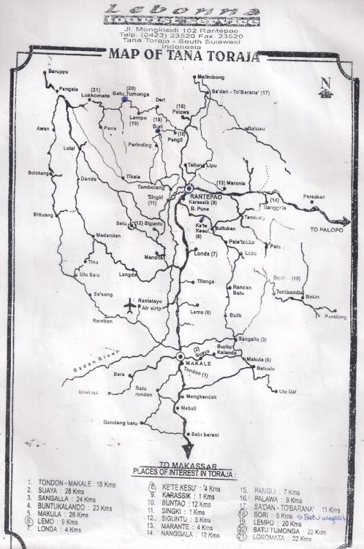 Peta wisata Tana Toraja